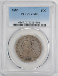 1885 50C LIBERTY SEATED HALF DOLLAR PCGS VG 8 GOOD LOW MINTAGE