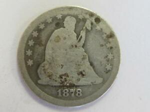 1878 CC SILVER SEATED QUARTER BETTER DATE WELL CIRCULATED TYPE COIN