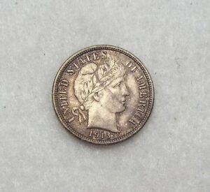 1913 BARBER DIME ALMOST UNCIRCULATED SILVER 10C