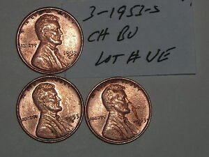 WHEAT PENNY 1953S LOT 3 RED AU /CH BU LINCOLN CENTS 1953 S CH UNC RED