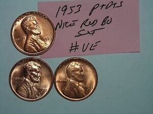 WHEAT PENNY LOT 1953 1953 D 1953 S RED BU LINCOLN CENT 1953D 1953S RED UNC SET