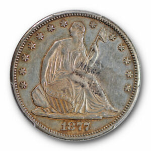 1877 CC 50C LIBERTY SEATED HALF DOLLAR PCGS AU 53 ABOUT UNCIRCULATED