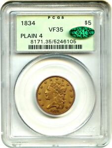 1834 CLASSIC HEAD $5 PCGS/CAC VF35  PLAIN 4 OGH  OLD GREEN LABEL HOLDER