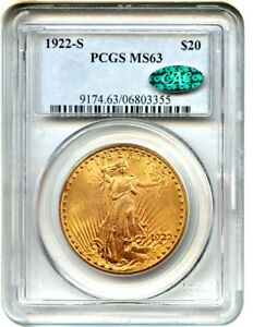 1922 S $20 PCGS/CAC MS63    DATE   SAINT GAUDENS DOUBLE EAGLE   GOLD COIN