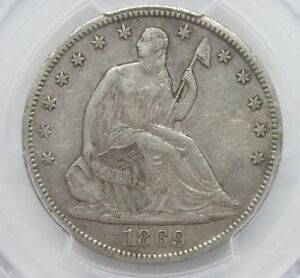 1869 S SEATED LIBERTY HALF DOLLAR PCGS XF40 50C CHOICE COIN [881] T5