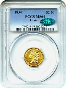Click now to see the BUY IT NOW Price! 1834 CLASSIC HEAD $2 1/2 PCGS/CAC MS64   CLASSIC HEAD GOLD TYPE COIN