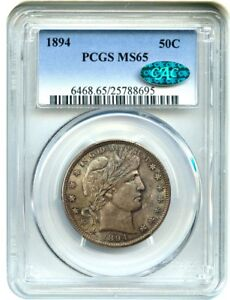 Click now to see the BUY IT NOW Price! 1894 50C PCGS/CAC MS65    GEM   BARBER HALF DOLLAR    GEM