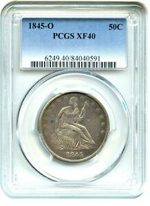 1845 O 50C PCGS XF40   POPULAR NEW ORLEANS ISSUE   LIBERTY SEATED HALF DOLLAR