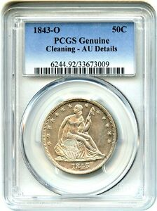 Click now to see the BUY IT NOW Price! 1843 O 50C PCGS AU DETAILS  CLEANING  LIBERTY SEATED HALF DOLLAR