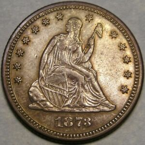 1873 LIBERTY SEATED 25C MAGNIFICENT RARITY CLOSED 3 NO ARROWS W/1938 5C MS66 NGC