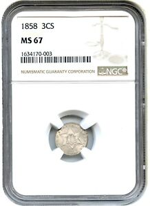 Click now to see the BUY IT NOW Price! 1858 3CS NGC MS67    TYPE 2   3 CENT SILVER    TYPE 2