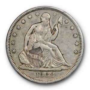 1868 S 50C LIBERTY SEATED HALF DOLLAR PCGS XF 40 EXTRA FINE