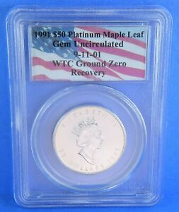 Click now to see the BUY IT NOW Price! 1991 WTC 911 GROUND ZERO RECOVERY $50 PLATINUM MAPLE LEAF 1 OZ COIN GEM UNC PCGS