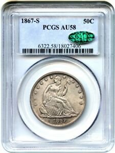 Click now to see the BUY IT NOW Price! 1867 S 50C PCGS/CAC AU58   LIBERTY SEATED HALF DOLLAR   LUSTROUS SLIDER