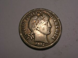 1912 BARBER DIME  ABT. VF & ATTRACTIVE