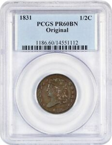 Click now to see the BUY IT NOW Price! 1831 1/2C PCGS PR 60 BN  ORIGINAL  EX: NORWEB    PROOF HALF CENT   HALF CENT