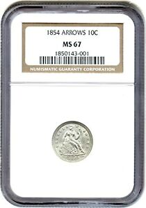 Click now to see the BUY IT NOW Price! 1854 10C NGC MS67  ARROWS  FLASHY 2 YEAR TYPE COIN   LIBERTY SEATED DIME