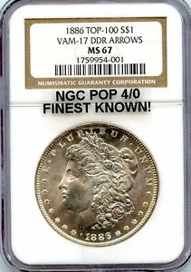 Click now to see the BUY IT NOW Price! C8883  1886 VAM 17 DDR ARROWS TOP 100 MORGAN DOLLAR NGC MS67   NGC POP 4/0