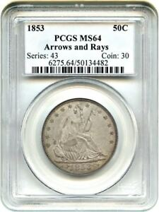 Click now to see the BUY IT NOW Price! 1853 50C PCGS MS64  ARROWS & RAYS  DESIRABLE TYPE COIN   DESIRABLE TYPE COIN