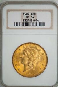1904 NGC MS64 $20 GOLD LIBERTY DOUBLE EAGLE IN OLD SOAPBOX HOLDER ITEMJ1596