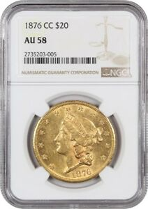 1876 CC $20 NGC AU58   POPULAR CC MINT ISSUE   LIBERTY DOUBLE EAGLE   GOLD COIN
