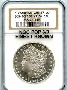 Click now to see the BUY IT NOW Price! C9358  1886 VAM 17 DDR ARROWS TOP 100 MORGAN DOLLAR NGC MS65 DPL   NGC POP 3/0