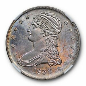 Click now to see the BUY IT NOW Price! 1838 REEDED EDGE HALF DOLLAR NGC MS 64 UNCIRCULATED PURPLE TONED BEAUTY