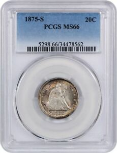Click now to see the BUY IT NOW Price! 1875 S 20C PCGS MS66   BEAUTIFUL RIM TONING   20 CENT PIECE