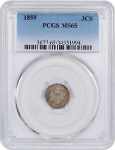 1859 3CS PCGS MS65   GEM TYPE COIN   3 CENT SILVER   GEM TYPE COIN