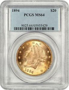 1894 $20 PCGS MS64   TOUGHER DATE   LIBERTY DOUBLE EAGLE   GOLD COIN