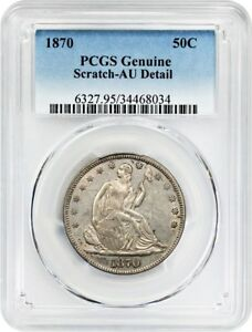 1870 50C PCGS AU DETAILS  SCRATCH  LIBERTY SEATED HALF DOLLAR