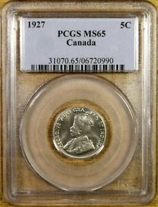 Click now to see the BUY IT NOW Price! 1927 CANADA NICKEL PCGS MS65   POP 11 / 3