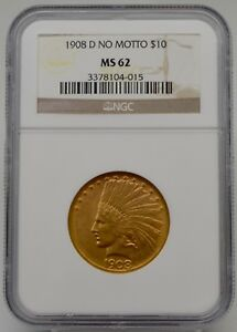 Click now to see the BUY IT NOW Price!   1908 D NO MOTTO INDIAN HEAD $10 GOLD COIN NGC MS 62 GRADED  LVS0042