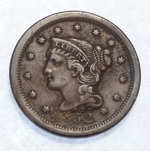 1852 BRAIDED HAIR LARGE CENT FINE  1C