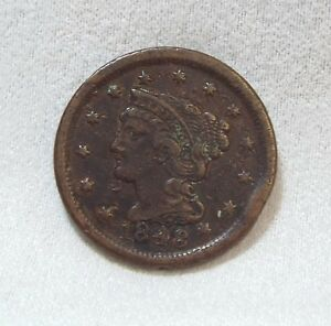 BARGAIN 1848 BRAIDED HAIR LARGE CENT EXTRA FINE 1 CENT