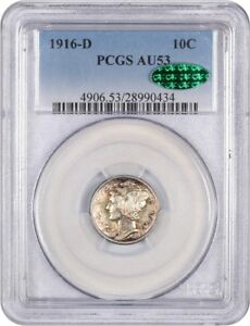 Click now to see the BUY IT NOW Price! 1916 D 10C PCGS/CAC AU53   BEAUTIFUL AU KEY DATE    MERCURY DIME