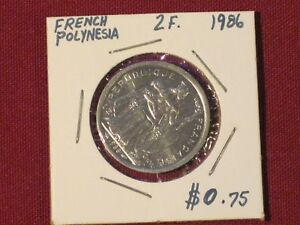 1986  2 FRANCSS COIN   FRENCH POLYNESIA   FABULOUS EXAMPLE.  KM 10