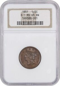 1851 1/2C NGC MS65 BN  B 1 OH  OLD NGC HOLDER   HALF CENT   OLD NGC HOLDER