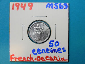 1949 FRENCH   OCEANIA 50 CENTIMES   VERY NICE COIN    PJ274
