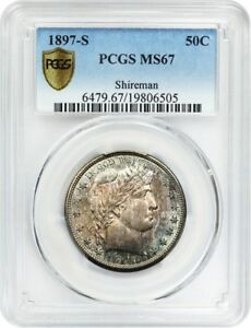 Click now to see the BUY IT NOW Price! 1897 S 50C PCGS MS67   TOUGH DATE   BARBER HALF DOLLAR   TOUGH DATE
