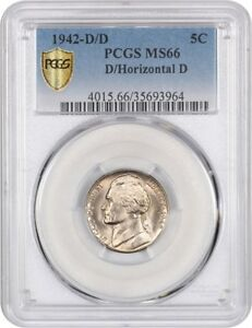 Click now to see the BUY IT NOW Price! 1942 D/HORIZ D 5C PCGS MS66   JEFFERSON NICKEL    VARIETY