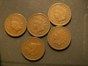 NICE LOT OF 5 VINTAGE  INDIAN CENTS.
