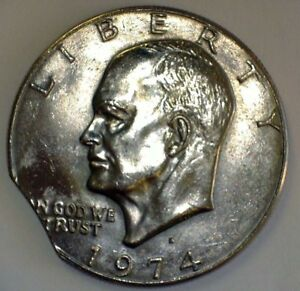 1974 D $1 IKE CLIPPED PLANCHET