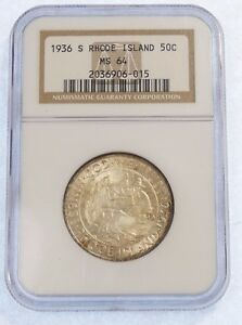 1936 S RHODE ISLAND TERCENTENARY SILVER COMMEMORATIVE NGC MS 64 50 CENTS
