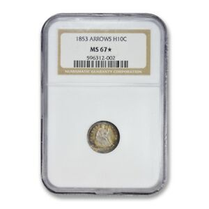 Click now to see the BUY IT NOW Price! 1853 SEATED LIBERTY HALF DIME H10C NGC MS 67   STAR TONED TOP POP COIN