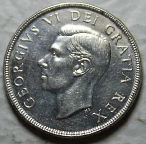 CANADA 1952 SILVER DOLLAR HIGH AU BU GRADE BUT LIGHTLY CLEANED OLD DATE KGVI