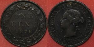 FINE 1876H CANADA LARGE 1 CENT