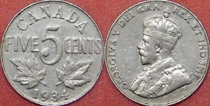 VERY FINE 1934 CANADA 5 CENTS