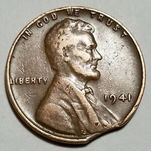 1941   LARGE CURVED CLIP   LINCOLN WHEAT CENT MINT ERROR LOT 5044