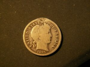 NICE 1915 BARBER DIME 103YRS OLD      90  SILVER